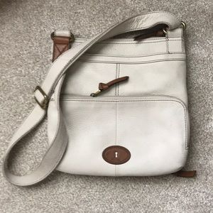 Fossil cream leather crossbody bag